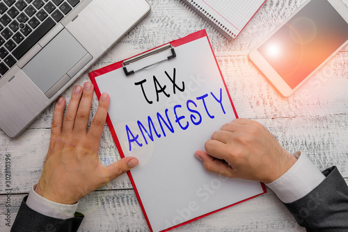 Word writing text Tax Amnesty Canvas Print