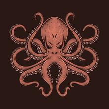 Hand Drawing Vintage Octopus Vector Illustration