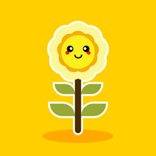 Cute Sunflower Character Mascot Flat Design Vector Illustration