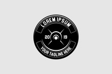 Simple Weight Plate Barbell Logo Template