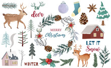 Watercolor Christmas Object Co...