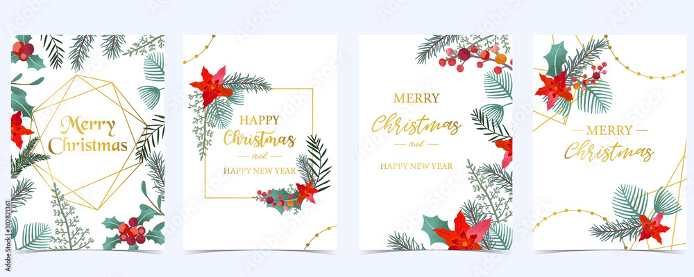 Obraz Collection of Christmas background set with holly leaves,flower,geometric.Editable vector illustration for New year invitation,postcard and website banner fototapeta, plakat