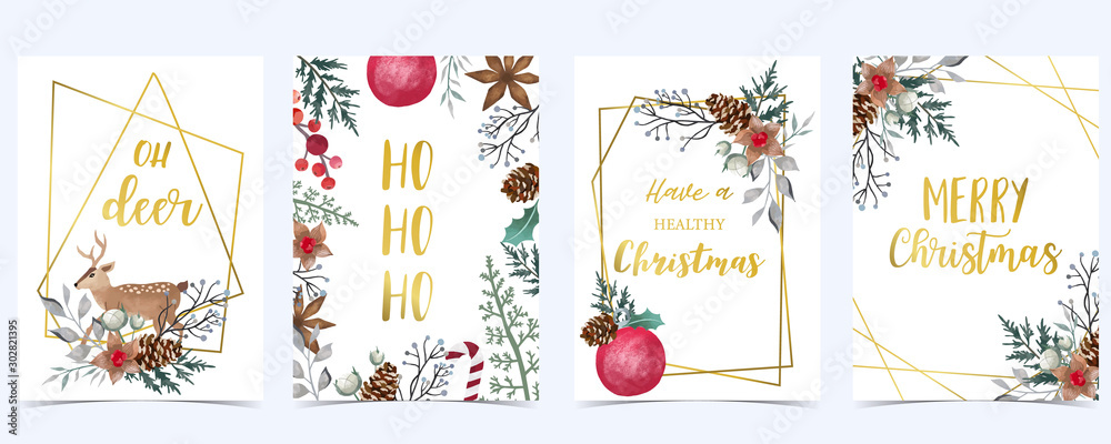 Fototapeta Collection of Christmas background set with holly leaves,flower,geometric.Editable vector illustration for New year invitation,postcard and website banner