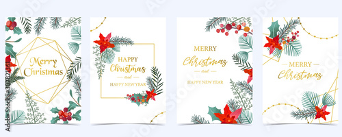 Cuadros en Lienzo  Collection of Christmas background set with holly leaves,flower,geometric