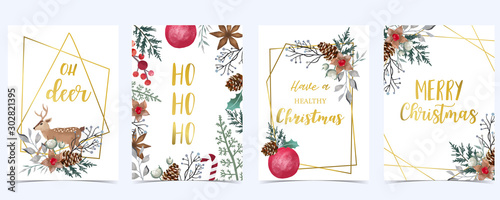 Obraz Collection of Christmas background set with holly leaves,flower,geometric.Editable vector illustration for New year invitation,postcard and website banner - fototapety do salonu