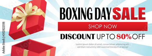 Boxing day sale with red gift box advertising poster template. Use for flyer, banner, christmas seasonal offer, discount.