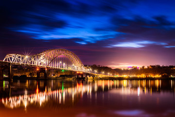 Beautiful Julien Dubuque Bride at night after sunset