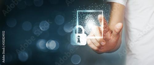 Cuadros en Lienzo  Fingerprint scan provides security access .