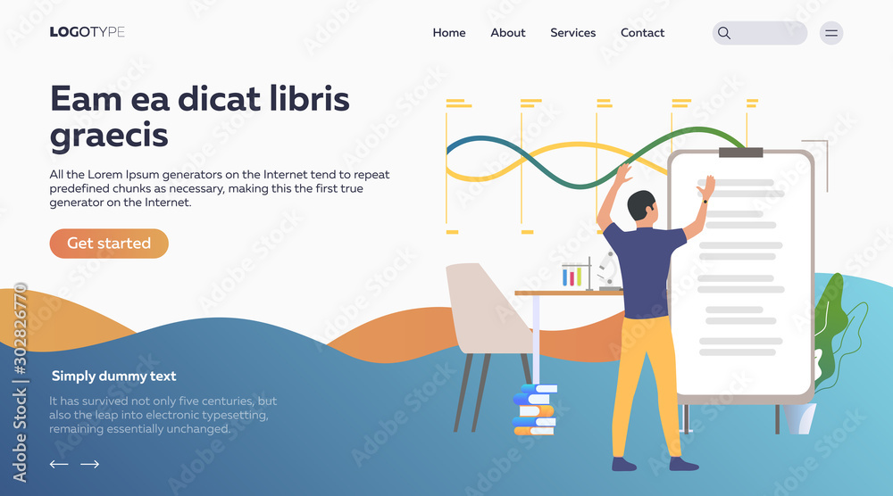 Fototapety, obrazy: Man holding research with flipchart. Studies, laboratory, education flat vector illustration. Science concept for banner, website design or landing web page