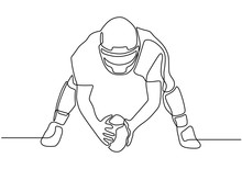 Continuous One Line Drawing Of Man Holding A Ball While Playing American Football Game Sport. Vector A Person With Costume And Helmet.