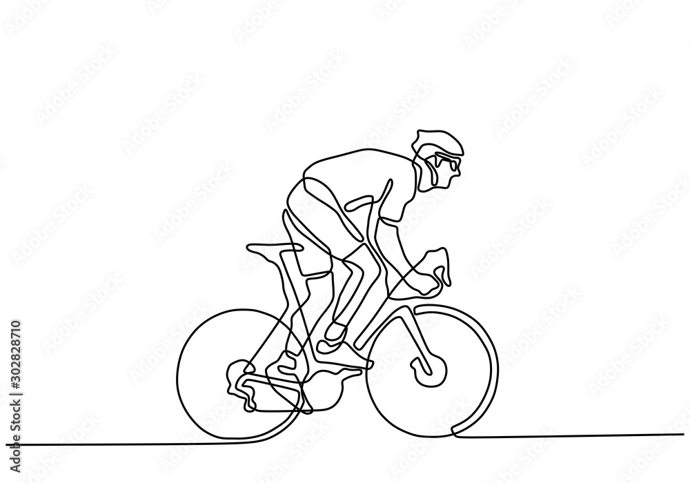 Fototapeta Continuous one line cyclist in helmet riding a bicycle. Minimalist design drawing of sportsman doing sport competition.
