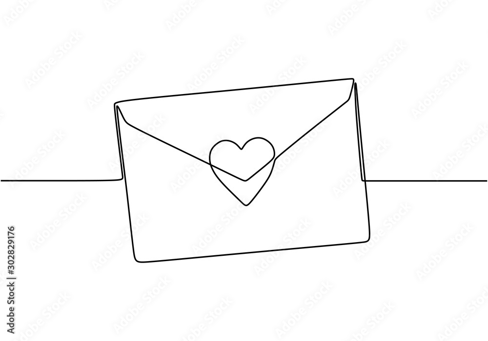 Fototapeta Continuous line drawing of Love letter with heart. Vector romantic mail for cards and invitation good for Valentine's day theme.