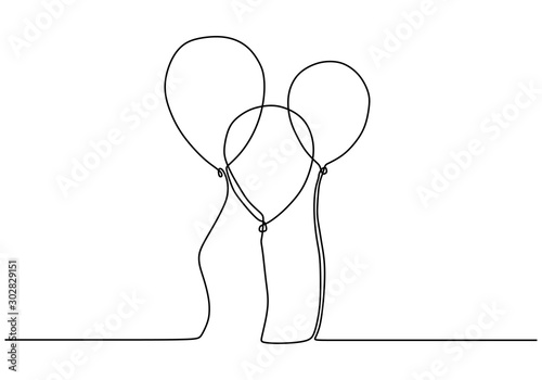 Balloon one continuous line drawing. Minimalism design of balloons vector illustration simplicity lineart.