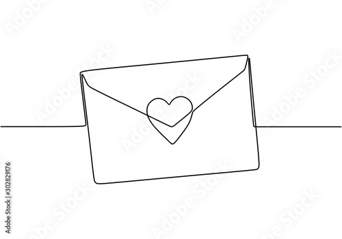 Fototapeta Continuous line drawing of Love letter with heart. Vector romantic mail for cards and invitation good for Valentine's day theme. obraz