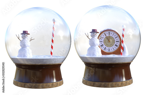 Fototapeta Pair of Christmas snow globes with props on the inside isolated on white, 3d render. obraz