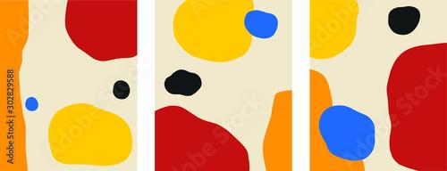Abstract scandinavian minimal temlates bauhaus primary color palette Wallpaper Mural