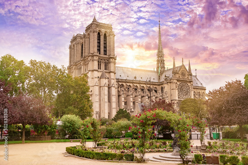 Poster de jardin Paris Notre Dame de Paris Cathedral, France