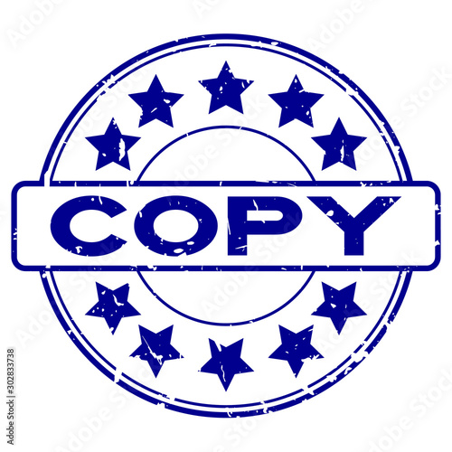 Photo Stands Fantasy Landscape Grunge blue copy word with star icon round rubber seal stamp on white background