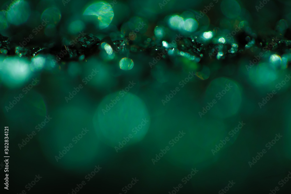 Fototapety, obrazy: Monochrome emerald abstract background with bokeh defocused lights.