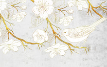Golden Tree With Large White Flowers And A White Bird On A Gray Background