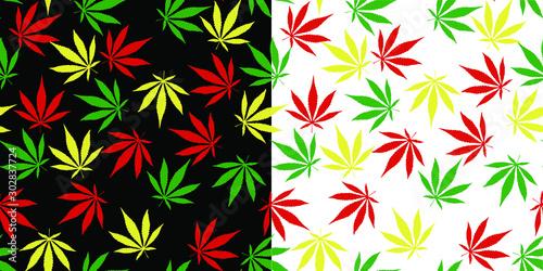 Obraz na plátně Marijuana seamless pattern 2 variation, Weed vector, cannabis leaf tile backgrou