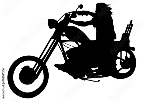 Leinwand Poster Silhouetted Motorcyclist on Chopper - Black and White Illustration with Rider on