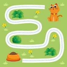 Cat Worksheet Vector Design, Dash Game For Kid.