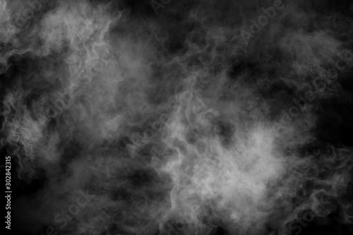 White smoke isolated on black background Fototapete