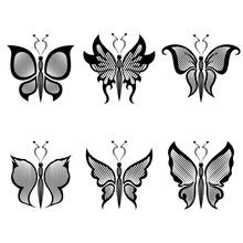 Set Of Six Black Butterflies
