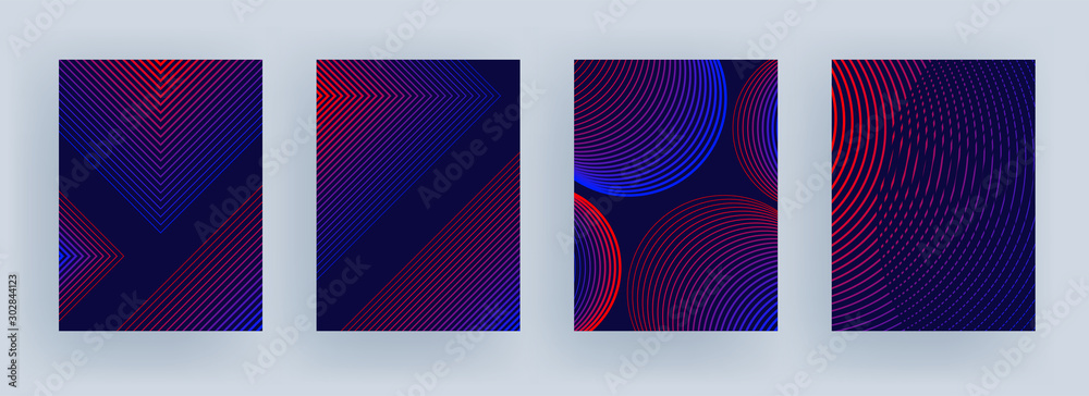 Fototapeta Blue and red color stripe pattern in different style on purple background.