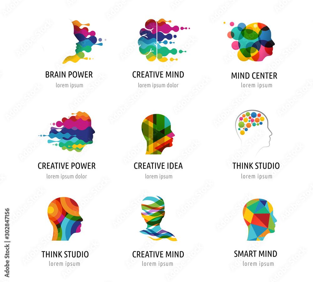 Obraz Brain, Creative mind, learning and design icons, logos. Man head, people symbols fototapeta, plakat