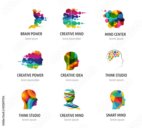 Brain, Creative mind, learning and design icons, logos. Man head, people symbols Wall mural