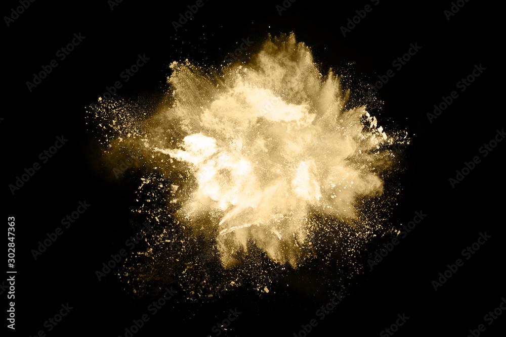 Fototapety, obrazy: Golden powder explosion on black background. Freeze motion.