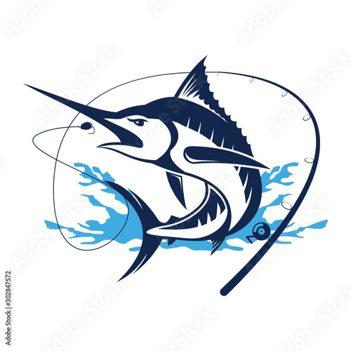 Marlin fish logo Wallpaper Mural