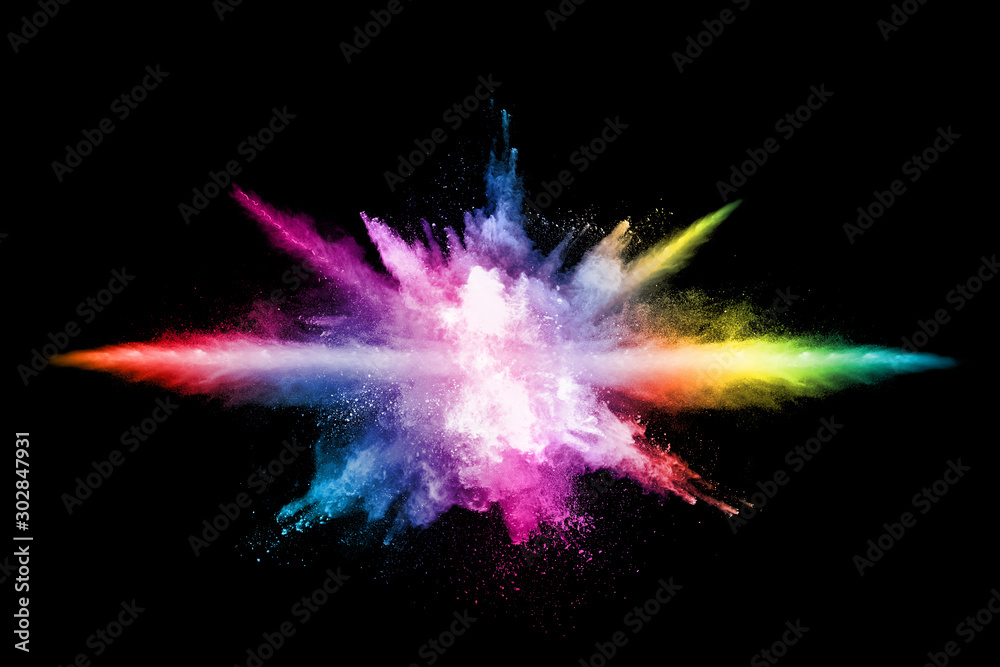 Fototapety, obrazy: abstract colored dust explosion on a black background.abstract powder splatted background,Freeze motion of color powder exploding/throwing color powder, multicolored glitter texture.