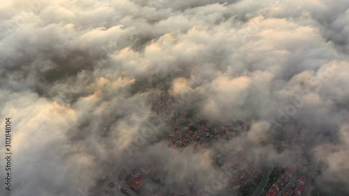 Aerial view above the clouds during the morning, Croatia. - 302848104