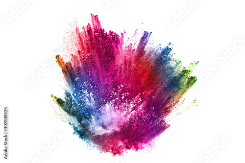 Obraz abstract powder splatted background. Colorful powder explosion on white background. Colored cloud. Colorful dust explode. Paint Holi. - fototapety do salonu