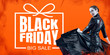 canvas print picture - Woman as a vampire in black dress on orange fire background, black friday. Scary characters, business, advertising. Black friday, cyber monday, sales, finance, money online purchases concept.