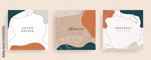 Fototapety, obrazy: Social media stories and post creative Vector set. Background template with copy space for text and images design by abstract colored shapes,  line arts , Tropical leaves  warm color of the earth tone