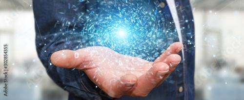 Businessman creating new futuristic energy power source 3D rendering Fototapet