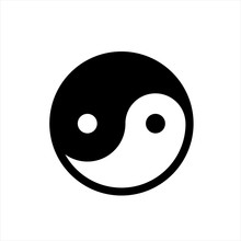 Yin And Yang Icon In Trendy Fl...