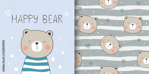 Greeting card and print pattern happy bear for fabric textiles kids.