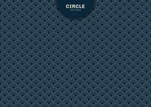 Abstract Geometric Circle Blue Background Japanese Pattern Style.
