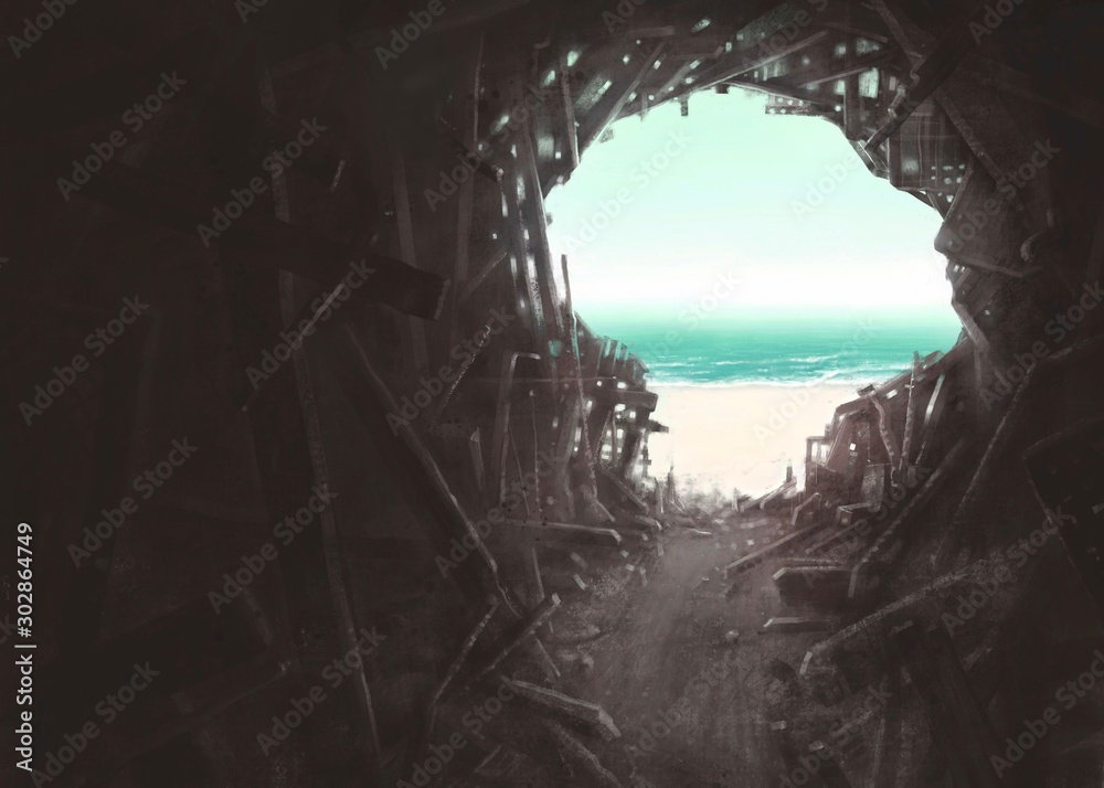 Freedom and hope concept , Surreal scene human head broken building with the sea, spiritual