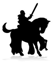 A Silhouette Knight On A Horse