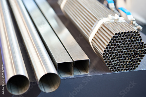 Leinwand Poster Steel pipes in stack