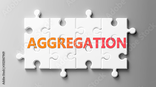 Aggregation complex like a puzzle - pictured as word Aggregation on a puzzle pie Wallpaper Mural
