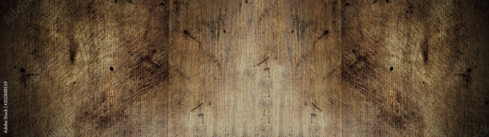 Fototapety, obrazy: old brown rustic dark brown wooden texture - wood background panorama banner long
