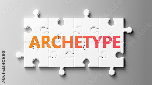 Archetype complex like a puzzle - pictured as word Archetype on a puzzle pieces Canvas Print