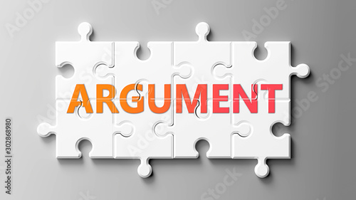 Argument complex like a puzzle - pictured as word Argument on a puzzle pieces to Wallpaper Mural